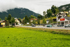 Road with cars in Alpbach Royalty Free Stock Photography
