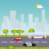Road with cars on a background of a city landscape royalty free illustration
