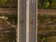 Aerial view. On the road. royalty free stock photo