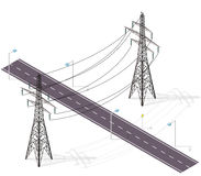 Road for cars crossed by high voltage lines, street lamps. Infrastructure intersecting. Vector high voltage pylon on white isolated background in isometric royalty free illustration