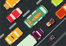 Road with cars top view. City traffic. Flat style illustration. Road traffic. Transportation top view. Cars on the highway Royalty Free Stock Photography