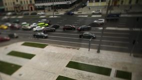 Road with cars in traffic rush. Footage. Blur traffic jam with bokeh light, transportation background. Traffic jam. Zoom. Blur effect HD stock video footage