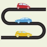 Road with cars. Vector illustration of winding road and colorful vehicles icons in flat design. Transportation and traffic infogra. Phics template royalty free illustration