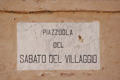 Road cartel named with a poem of Giacomo Leopardi. In Recanati, Marche, central Italy Stock Photos