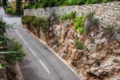 Road Carved Through Rocks Stock Photo