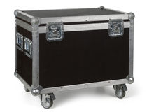 Road case or flight case on wheels. Photo of a isolated road case or flight case with reinforced metal corners and wheels. Clipping path included Stock Image