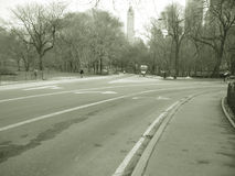 Road in Central Park in sepia Royalty Free Stock Images