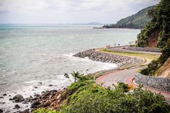 Road by Chanthaburi Sea. View of Chalerm Burapha Chonlathit road taken from Nang Phaya Hill Scenic Point Stock Image