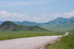 On the road, Chuiski. Trekking in the Altai Mountains Stock Image