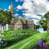 Road by the church Royalty Free Stock Photo