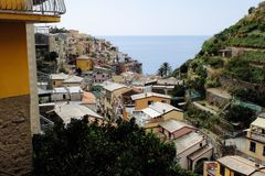 At road through cinque terre in italy you can get some great views to small villages stock photos