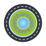 Road circle and fountain inside top view vector illustration. Stock Image