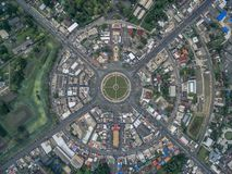 Road circle at 6 lanes come together in thailand. Road circle at 6 lanes come together in at thailand Royalty Free Stock Image