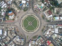 Road circle at 6 lanes come together in thailand. Road circle at 6 lanes come together in at thailand Stock Photography