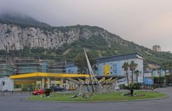 Road circle located close to the border in Gibraltar Stock Images