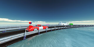 Road with circulating vehicles. 3d illustration of a road with circulating vehicles Royalty Free Stock Photo