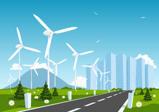 Road into the city around wind power station. Vector Royalty Free Stock Photography