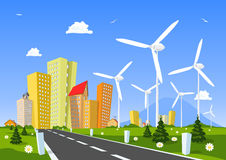 Road into the city around wind power station. Vector illustration Royalty Free Stock Photography