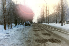 Road city car winter Royalty Free Stock Images