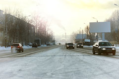 Road city car winter Stock Photo