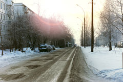 Road city car winter Stock Photos