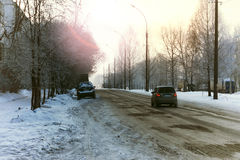 Road city car winter Stock Images