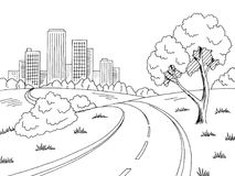 Road city graphic black white city landscape sketch illustration vector Stock Photos