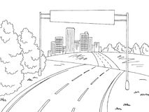 Road city graphic black white landscape billboard sketch illustration vector Stock Photos