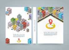 Road in the city Isometric banner, location book, A4 size Stock Photos