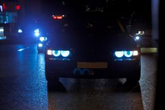 Night view of the cars. Road in the city at the night with yellow and red electrical light for cars during they are coming home. T royalty free stock images