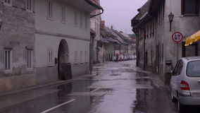 Road in the city. Rain stock video footage