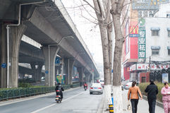 Road in the city. A self-contained Road with Viaduct in hefei city, China Royalty Free Stock Images