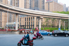 Road in the city. A self-contained Road with Viaduct in hefei city, China stock images