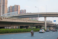 Road in the city. A self-contained Road with Viaduct in hefei city, China Stock Photography