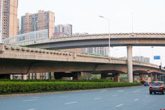 Road in the city. A self-contained Road with Viaduct in hefei city, China Stock Image