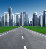 Road in the city of skyscrapers. Concept of globalization. no people, no bodies Stock Image