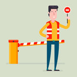 Road classical  barrier sign with the worker Royalty Free Stock Photography