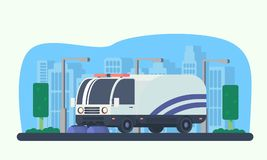 Road cleaner car. Street sweeper. Macine for road service. royalty free illustration