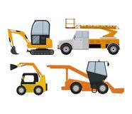 Road cleaning machine excavator tractor vector vehicle truck sweeper cleaner wash city streets illustration, vehicle van vector illustration