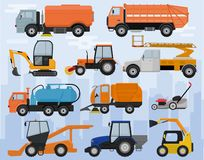 Road cleaning machine vector vehicle truck sweeper cleaner wash city streets illustration set of excavator bulldozer royalty free illustration