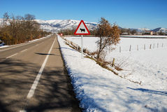 Road. Clear road in a snowy landscape Royalty Free Stock Image