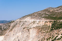 Road on the cliff to Assos village, Kefalonia Island Royalty Free Stock Photography