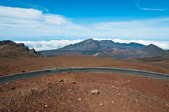 Road climbing above Haleakala crater in Maui Royalty Free Stock Photo