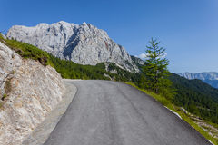 The road climbs in Slovenia - Triglav National Park Stock Images