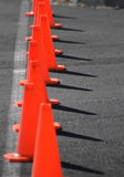 Road close. A row of traffic cones blocking off a road Royalty Free Stock Photography