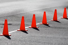 Road close. A row of traffic cones blocking off a road Stock Photography