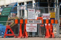 Road closed. Construction signage at constuction entrance stock photography