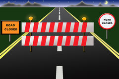 Road closed. Barricade with road signs Royalty Free Stock Image