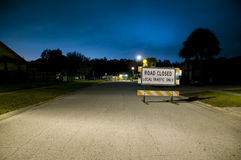 Road Closed. Local traffic only signage on neighborhood street at night Stock Image