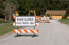 Road Closed. Signage due to construction ahead Stock Image